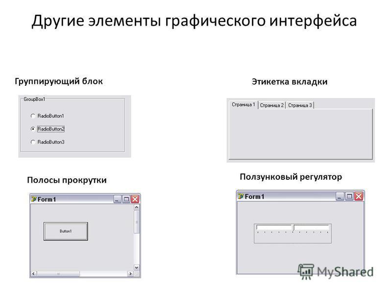 Другие элементы графического интерфейса Группирующий блок Этикетка вкладки Полосы прокрутки Ползунковый регулятор