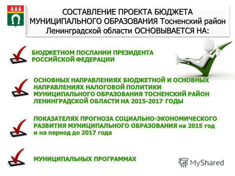 СОСТАВЛЕНИЕ ПРОЕКТА БЮДЖЕТА МУНИЦИПАЛЬНОГО ОБРАЗОВАНИЯ Тосненский район Ленинградской области ОСНОВЫВАЕТСЯ НА: