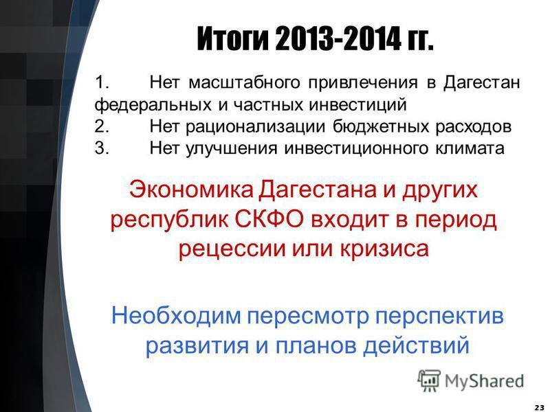 Итоги 2013-2014 гг. 23 1. Нет масштабного привлечения в Дагестан федеральных и частных инвестиций 2. Нет рационализации бюджетных расходов 3. Нет улучшения инвестиционного климата Экономика Дагестана и других республик СКФО входит в период рецессии и