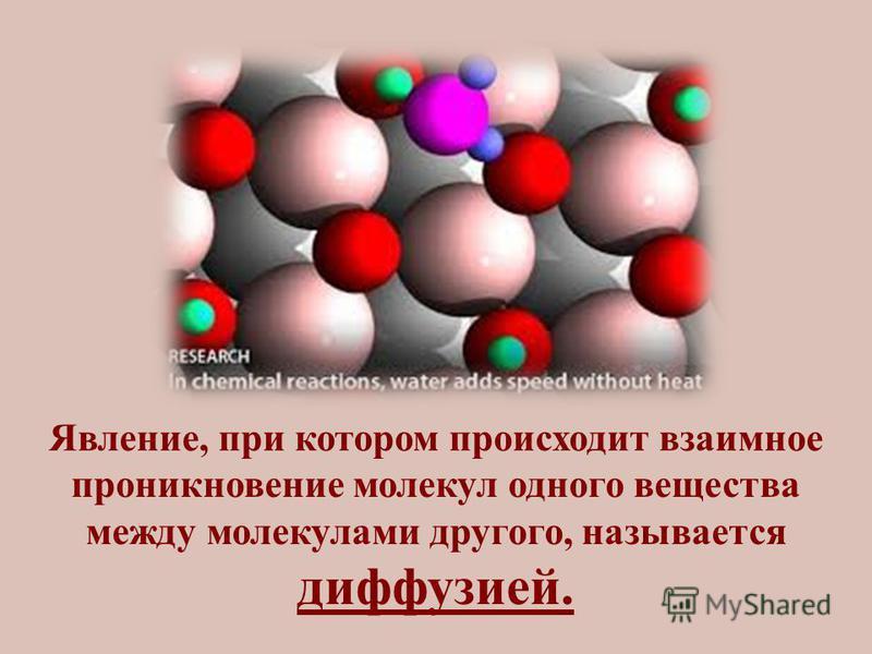 Явление, при котором происходит взаимное проникновение молекул одного вещества между молекулами другого, называется диффузией.