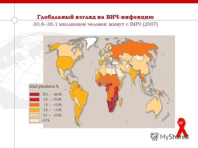Глобальный взгляд на ВИЧ-инфекцию 30.6 36.1 миллионов человек живут с ВИЧ (2007)