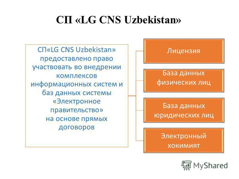 СП «LG CNS Uzbekistan» СП«LG CNS Uzbekistan» предоставлено право участвовать во внедрении комплексов информационных систем и баз данных системы «Электронное правительство» на основе прямых договоров Лицензия База данных физических лиц База данных юри