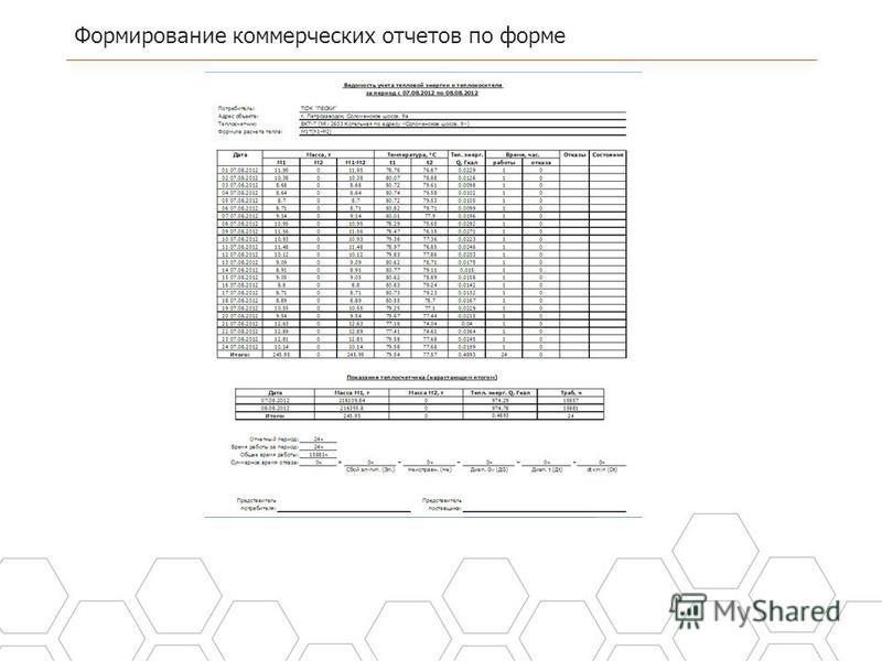Формирование коммерческих отчетов по форме 19