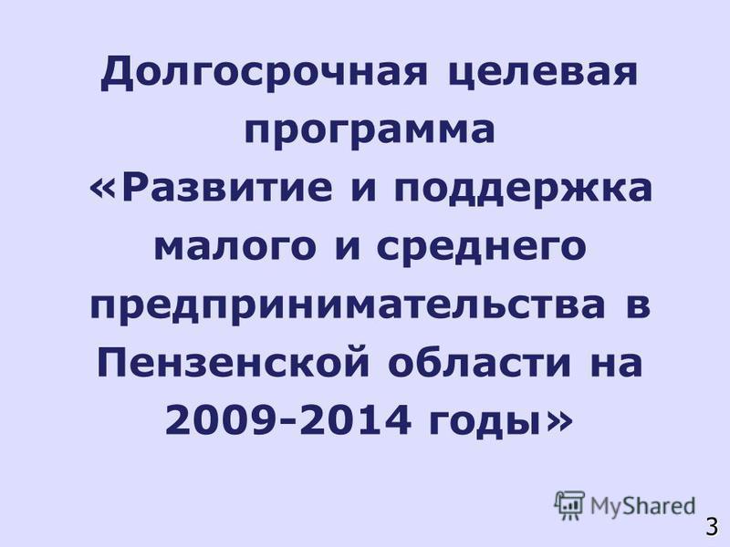 Долгосрочная целевая программа «Развитие и поддержка малого и среднего предпринимательства в Пензенской области на 2009-2014 годы» 3