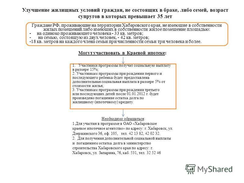 Могут участвовать в Краевой ипотеке: Граждане РФ, проживающие на территории Хабаровского края, не имеющие в собственности жилых помещений либо имеющих в собственности жилое помещение площадью: - на одиноко проживающего человека - 33 кв. метров; - на