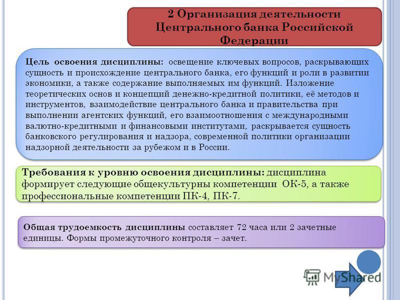 2 Организация деятельности Центрального банка Российской Федерации Цель освоения дисциплины: освещение ключевых вопросов, раскрывающих сущность и происхождение центрального банка, его функций и роли в развитии экономики, а также содержание выполняемы