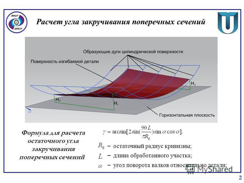 Расчет угла закручивания поперечных сечений 2 Формула для расчета остаточного угла закручивания поперечных сечений – остаточный радиус кривизны; – длина обработанного участка; – угол поворота валков относительно детали;