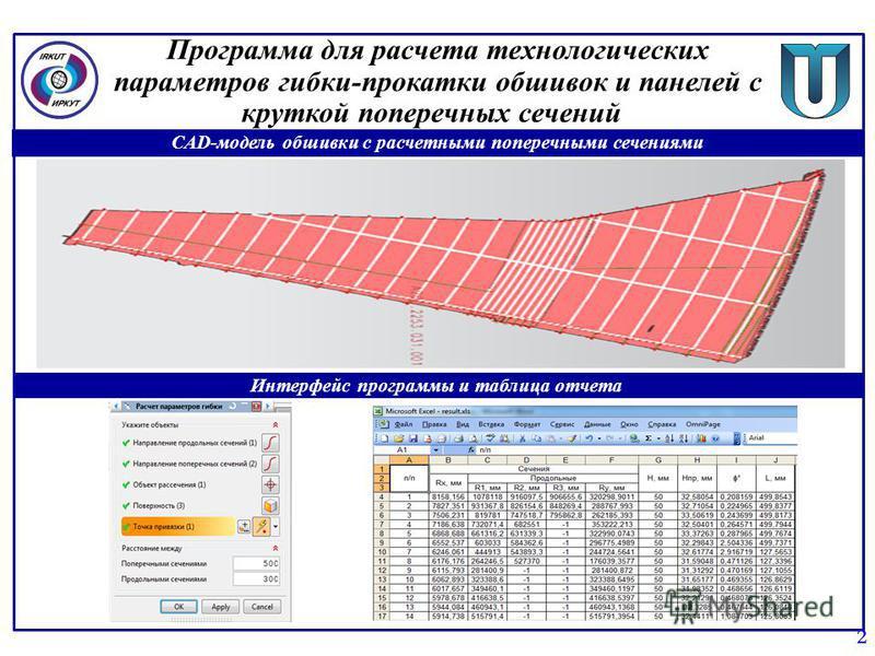 Программа для расчета технологических параметров гибки-прокатки обшивок и панелей с круткой поперечных сечений 2 CAD-модель обшивки с расчетными поперечными сечениями Интерфейс программы и таблица отчета