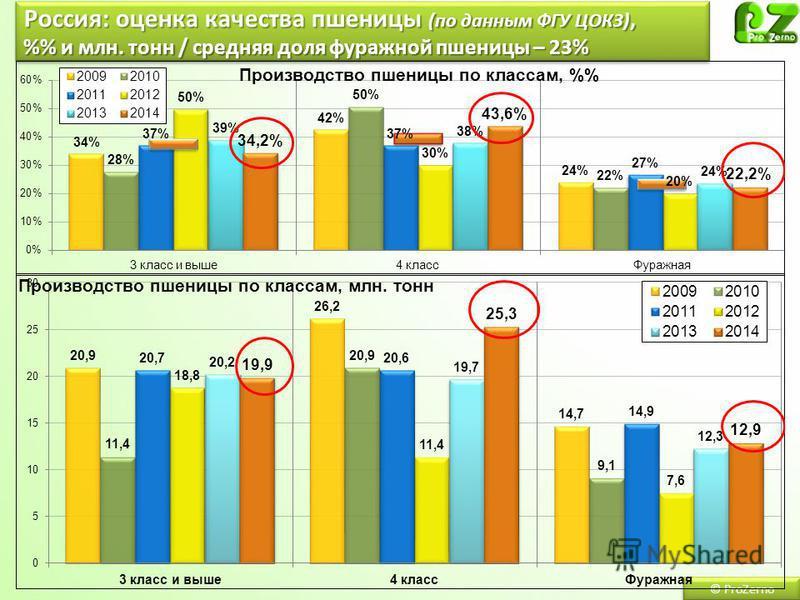 © ProZerno Россия: оценка качества пшеницы (по данным ФГУ ЦОКЗ), % и млн. тонн / средняя доля фуражной пшеницы – 23%
