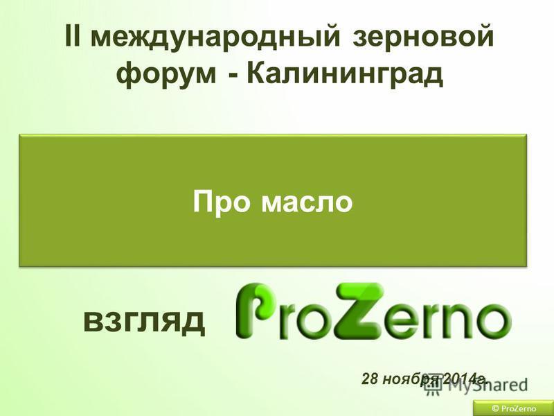 © ProZerno 28 ноября 2014 г. Про масло взгляд II международный зерновой форум - Калининград