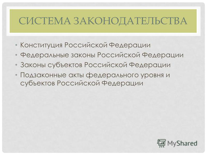 СИСТЕМА ЗАКОНОДАТЕЛЬСТВА Конституция Российской Федерации Федеральные законы Российской Федерации Законы субъектов Российской Федерации Подзаконные акты федерального уровня и субъектов Российской Федерации