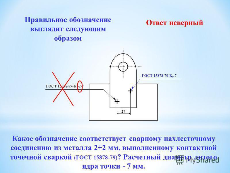 Правильное обозначение выглядит следующим образом ГОСТ 15878-79-К т -7 27 ГОСТ 15878-79-К т -7-2 Ответ неверный Какое обозначение соответствует сварному нахлесточному соединению из металла 2+2 мм, выполненному контактной точечной сваркой (ГОСТ 15878-