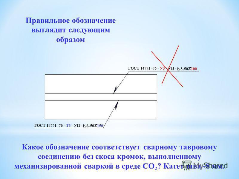 ГОСТ 14771 -76 - Т3 - УП - 8- 50 150 ГОСТ 14771 -76 - Т3 - ИН - 8- 50 150 Правильное обозначение выглядит следующим образом Ответ неверный Какое обозначение соответствует сварному тавровому соединению без скоса кромок, выполненному механизированной с