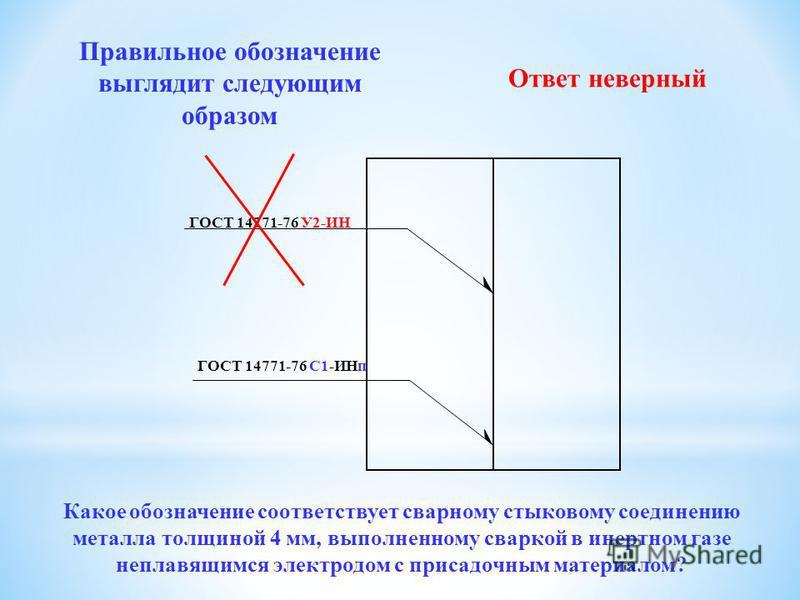 Какое из приведенных ниже обозначений соответствует сварному стыковому соединению металла толщиной 4 мм, выполненному сваркой в инертеном газе неправящимся электродом с присадочным материалом? ГОСТ 14771-76 С1-ИНп ГОСТ 8713-79 С1-ИНп ГОСТ 14771-76 С1