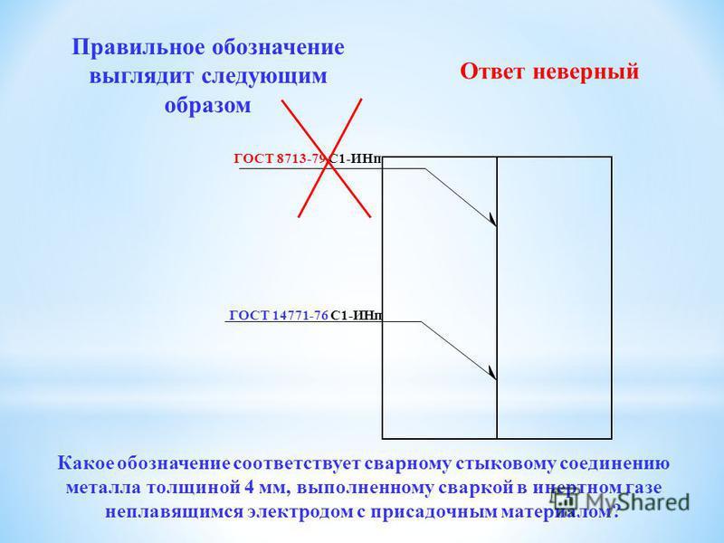 ГОСТ 14771-76 С1-ИНп ГОСТ 14771-76 У2-ИН Правильное обозначение выглядит следующим образом Ответ неверный Какое обозначение соответствует сварному стыковому соединению металла толщиной 4 мм, выполненному сваркой в инертеном газе неправящимся электрод