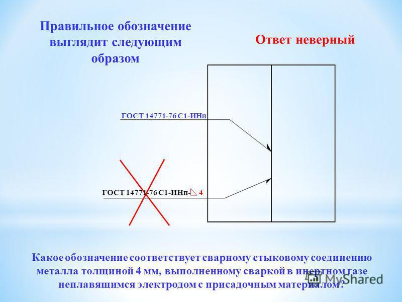 ГОСТ 14771-76 С1-ИНп ГОСТ 8713-79 С1-ИНп Правильное обозначение выглядит следующим образом Ответ неверный Какое обозначение соответствует сварному стыковому соединению металла толщиной 4 мм, выполненному сваркой в инертеном газе неправящимся электрод