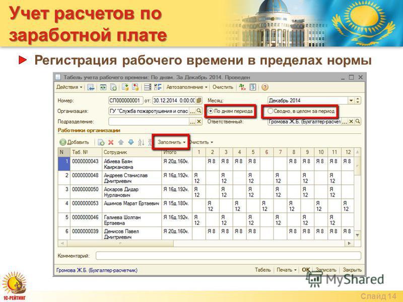 Учет расчетов по заработной плате Слайд 14 Регистрация рабочего времени в пределах нормы
