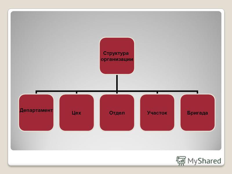 Структура организации Департамент Цех ОтделУчасток Бригада