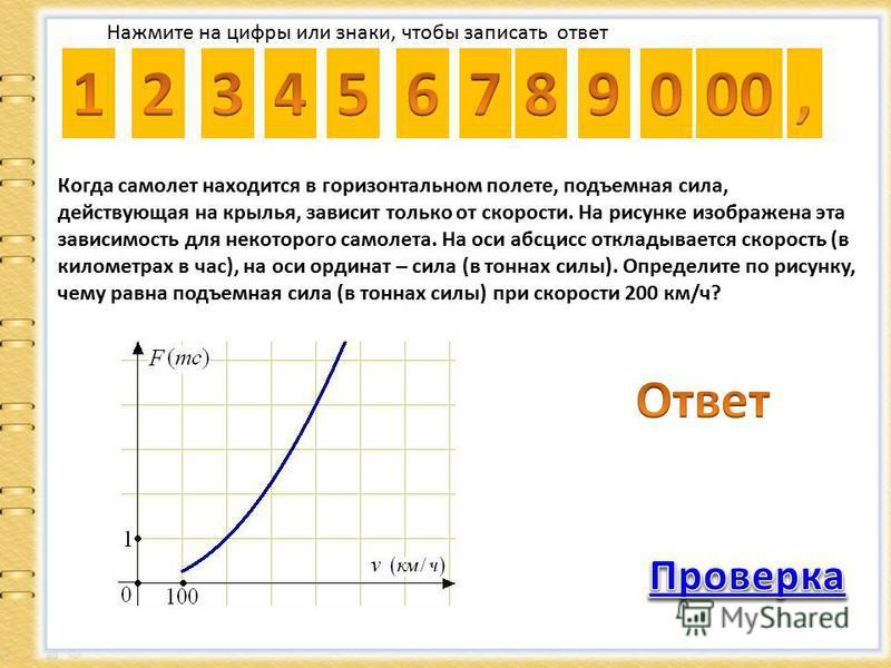 Нажмите на цифры или знаки, чтобы записать ответ Когда самолет находится в горизонтальном полете, подъемная сила, действующая на крылья, зависит только от скорости. На рисунке изображена эта зависимость для некоторого самолета. На оси абсцисс отклады