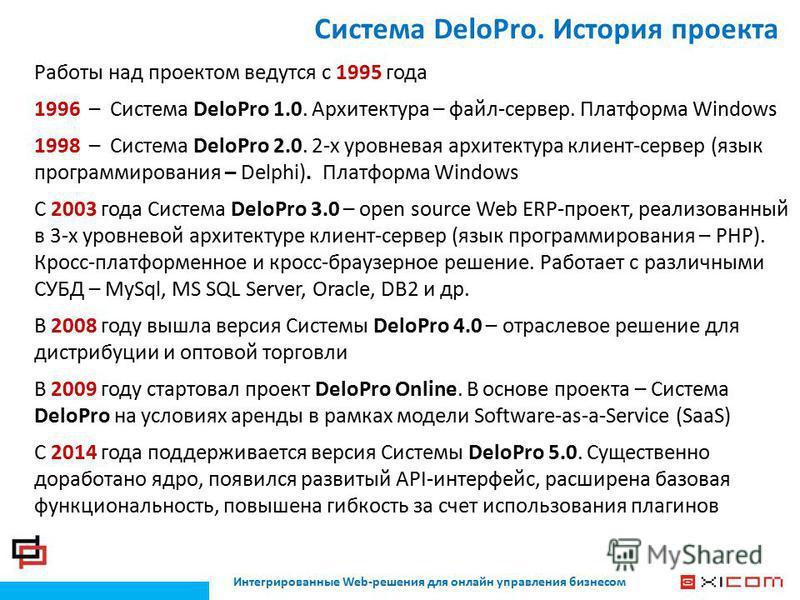 Система DeloPro. История проекта Интегрированные Web-решения для онлайн управления бизнесом Работы над проектом ведутся с 1995 года 1996 – Система DeloPro 1.0. Архитектура – файл-сервер. Платформа Windows 1998 – Система DeloPro 2.0. 2-х уровневая арх