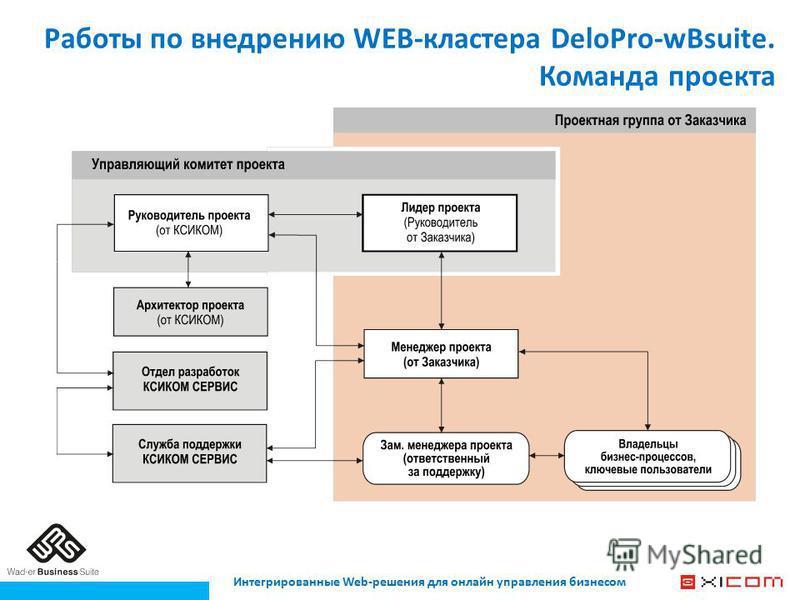 Интегрированные Web-решения для онлайн управления бизнесом Работы по внедрению WEB-кластера DeloPro-wBsuite. Команда проекта