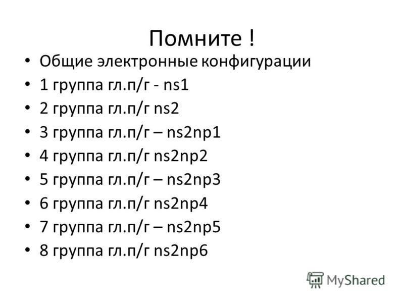 Помните ! Общие электронные конфигурации 1 группа гл.п/г - ns1 2 группа гл.п/г ns2 3 группа гл.п/г – ns2np1 4 группа гл.п/г ns2np2 5 группа гл.п/г – ns2np3 6 группа гл.п/г ns2np4 7 группа гл.п/г – ns2np5 8 группа гл.п/г ns2np6