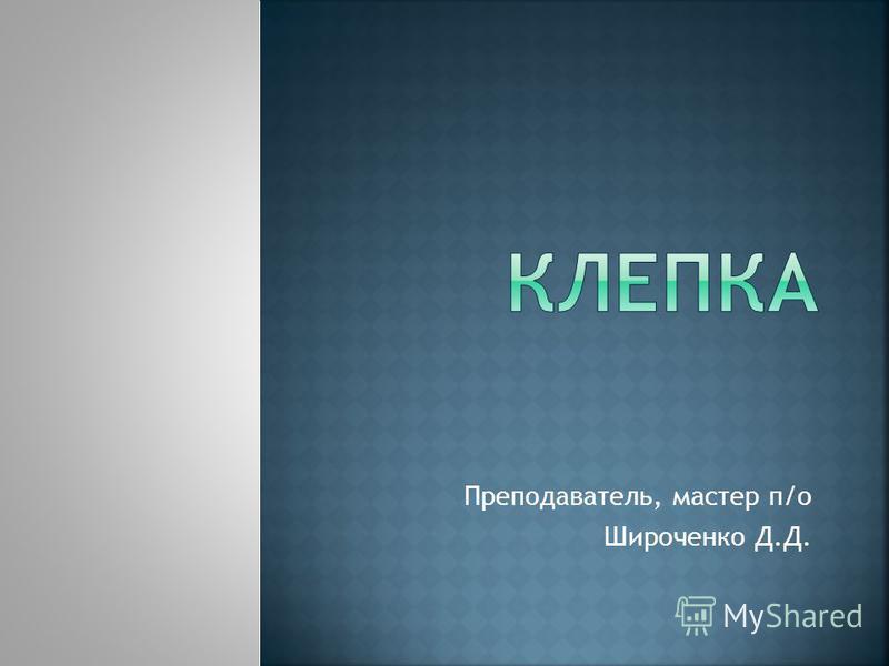 Преподаватель, мастер п/о Широченко Д.Д.