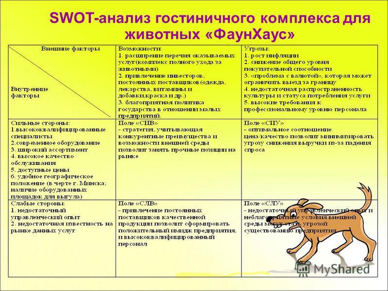 SWOT-анализ гостиничного комплекса для животных «Фаун Хаус»