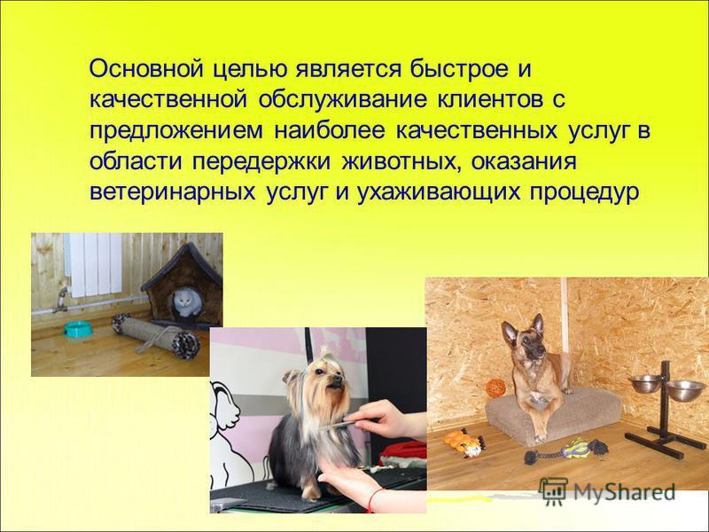 Основной целью является быстрое и качественной обслуживание клиентов с предложением наиболее качественных услуг в области передержки животных, оказания ветеринарных услуг и ухаживающих процедур
