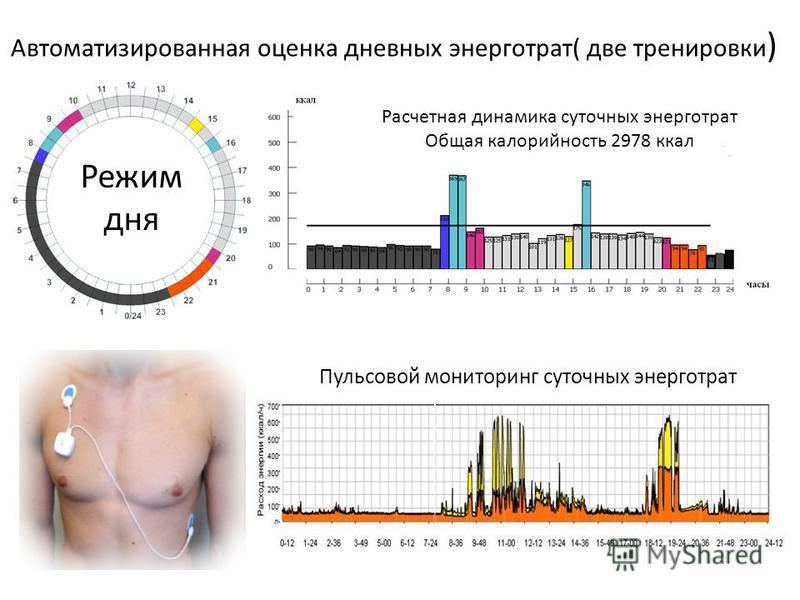 Пульсовой мониторинг суточных энерготрат Автоматизированная оценка дневных энерготрат( две тренировки ) Режим дня Расчетная динамика суточных энерготрат Общая калорийность 2978 ккал
