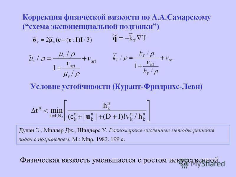 Коррекция физической вязкости по А.А.Самарскому (экспоненциальная подгонка) Условие устойчивости (Курант-Фридрихс-Леви) Физическая вязкость уменьшается с ростом искусственной