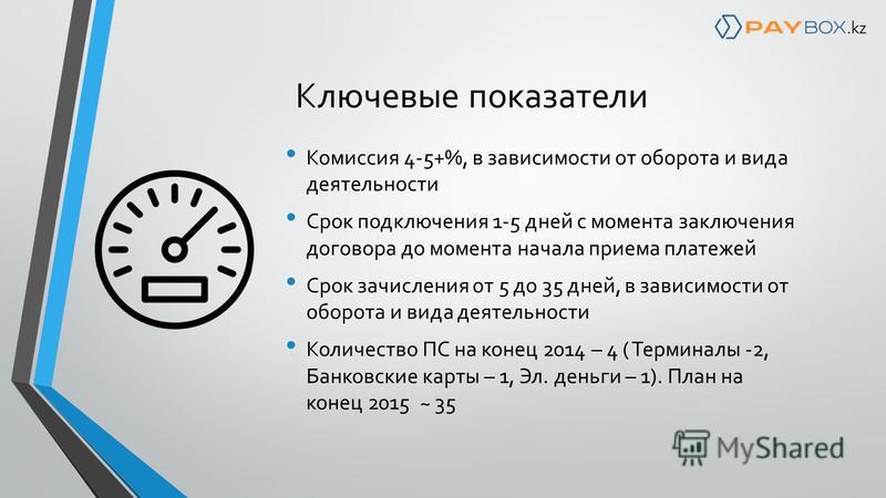 Ключевые показатели Комиссия 4-5+%, в зависимости от оборота и вида деятельности Срок подключения 1-5 дней с момента заключения договора до момента начала приема платежей Срок зачисления от 5 до 35 дней, в зависимости от оборота и вида деятельности К