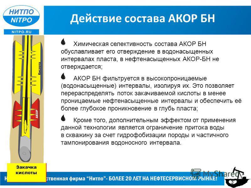 Действие состава АКОР БН Химическая селективность состава АКОР БН обуславливает его отверждение в водонасыщенных интервалах пласта, в нефтенасыщенных АКОР-БН не отверждается; АКОР БН фильтруется в высокопроницаемые (водонасыщенные) интервалы, изолиру