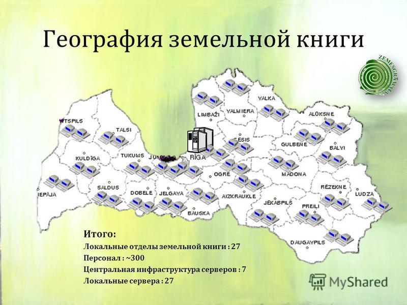 География земельной книги Итого: Локальныe отделы земельной книги : 27 Персонал : ~300 Центральная инфраструктура серверов : 7 Локальные сервера : 27
