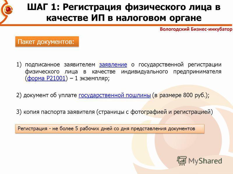 1)подписанное заявителем заявление о государственной регистрации физического лица в качестве индивидуального предпринимателя (форма Р21001) – 1 экземпляр;заявление форма Р21001 2) документ об уплате государственной пошлины (в размере 800 руб.);госуда