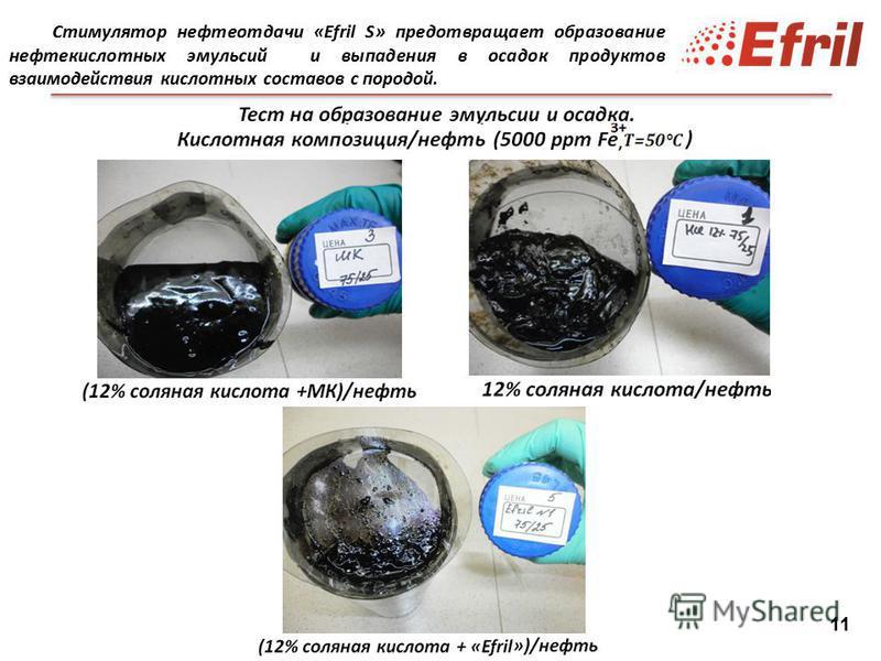 11 Стимулятор нефтеотдачи «Efril S» предотвращает образование нефтекислотных эмульсий и выпадения в осадок продуктов взаимодействия кислотных составов с породой.