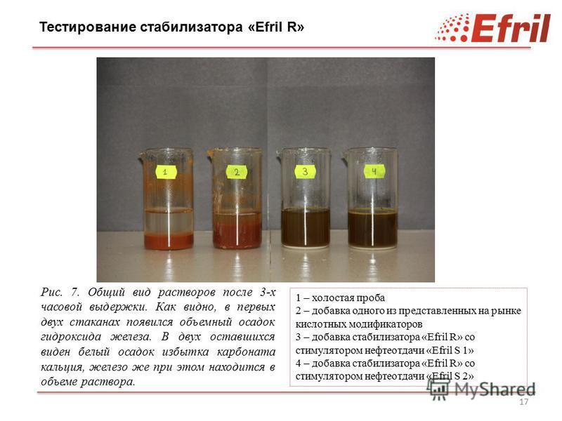 17 Рис. 7. Общий вид растворов после 3-х часовой выдержки. Как видно, в первых двух стаканах появился объемный осадок гидроксида железа. В двух оставшихся виден белый осадок избытка карбоната кальция, железо же при этом находится в объеме раствора. Т
