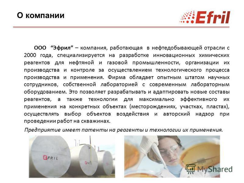 ООО Эфрил – компания, работающая в нефтедобывающей отрасли с 2000 года, специализируется на разработке инновационных химических реагентов для нефтяной и газовой промышленности, организации их производства и контроле за осуществлением технологического