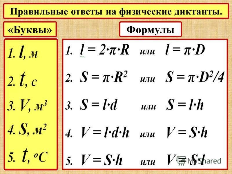 Правильные ответы на физические диктанты. «Буквы»Формулы