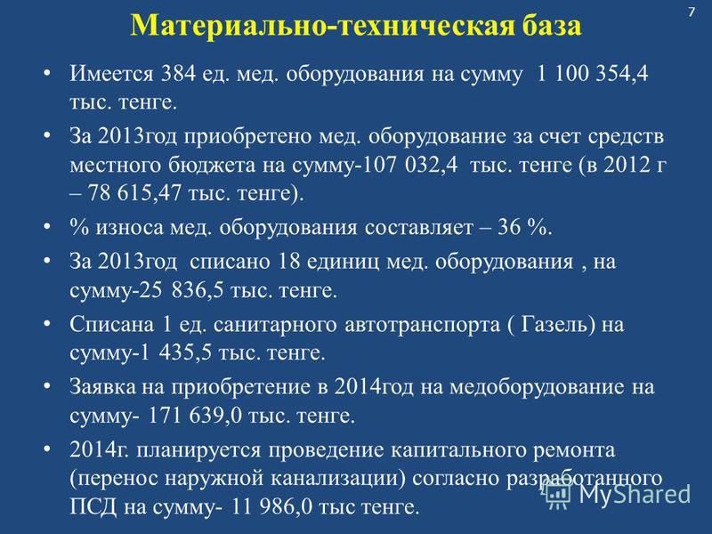 7 Материально-техническая база Имеется 384 ед. мед. оборудования на сумму 1 100 354,4 тыс. тенге. За 2013 год приобретено мед. оборудование за счет средств местного бюджета на сумму-107 032,4 тыс. тенге (в 2012 г – 78 615,47 тыс. тенге). % износа мед