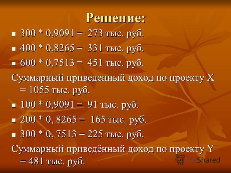 Решение: 300 * 0,9091 = 273 тыс. руб. 300 * 0,9091 = 273 тыс. руб. 400 * 0,8265 = 331 тыс. руб. 400 * 0,8265 = 331 тыс. руб. 600 * 0,7513 = 451 тыс. руб. 600 * 0,7513 = 451 тыс. руб. Суммарный приведенный доход по проекту Х = 1055 тыс. руб. 100 * 0,9