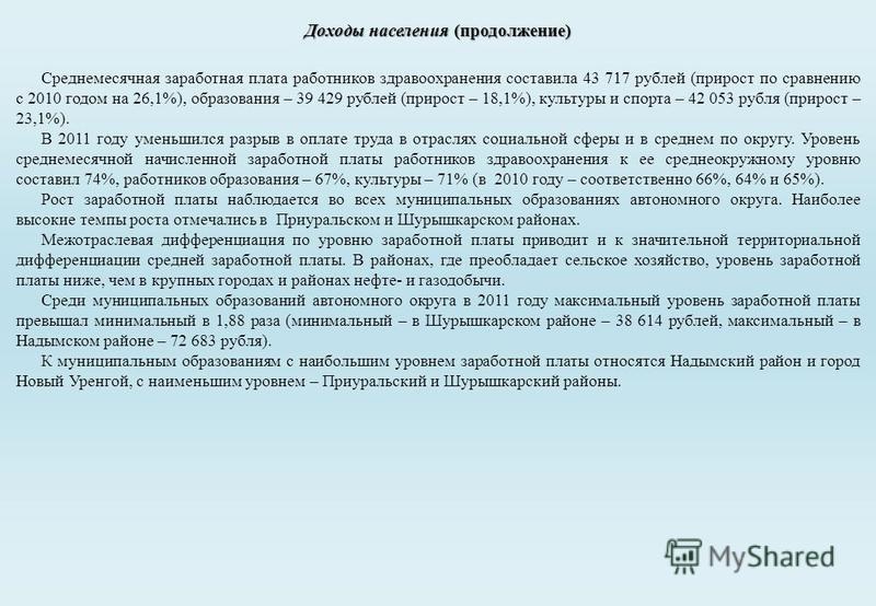 Среднемесячная заработная плата работников здравоохранения составила 43 717 рублей (прирост по сравнению с 2010 годом на 26,1%), образования – 39 429 рублей (прирост – 18,1%), культуры и спорта – 42 053 рубля (прирост – 23,1%). В 2011 году уменьшился