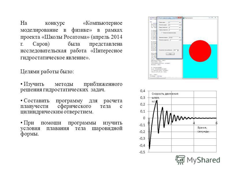 На конкурс «Компьютерное моделирование в физике» в рамках проекта «Школы Росатома» (апрель 2014 г. Саров) была представлена исследовательская работа «Интересное гидростатическое явление». Целями работы было: Изучить методы приближенного решения гидро