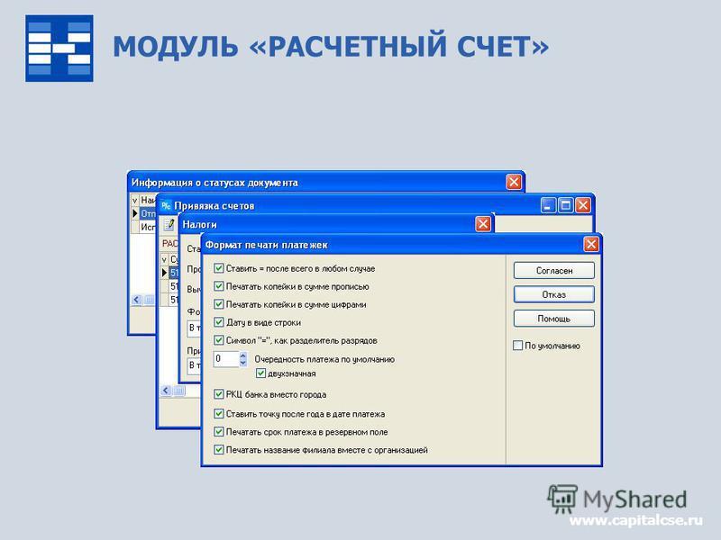 МОДУЛЬ «РАСЧЕТНЫЙ СЧЕТ» www.capitalcse.ru