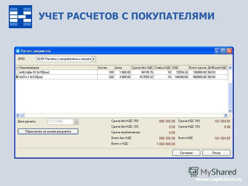 УЧЕТ РАСЧЕТОВ С ПОКУПАТЕЛЯМИ www.capitalcse.ru