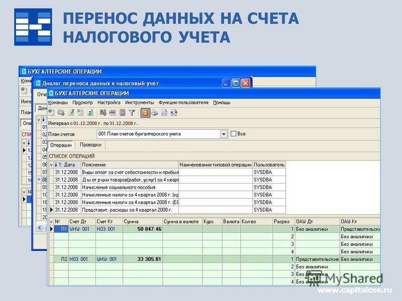 ПЕРЕНОС ДАННЫХ НА СЧЕТА НАЛОГОВОГО УЧЕТА www.capitalcse.ru