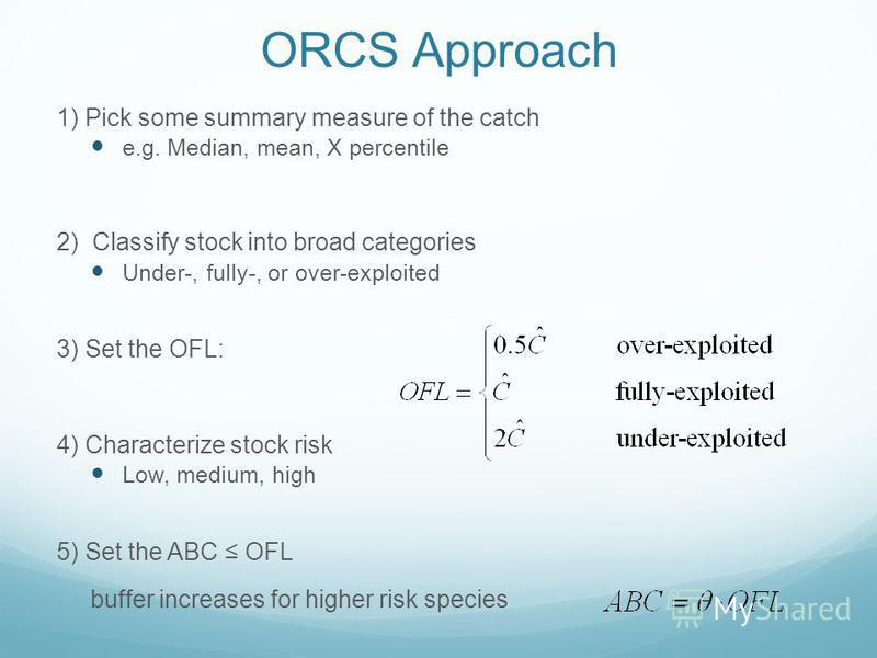 ORCS Approach 1) Pick some summary measure of the catch e.g. Median, mean, X percentile 2) Classify stock into broad categories Under-, fully-, or over-exploited 3) Set the OFL: 4) Characterize stock risk Low, medium, high 5) Set the ABC OFL buffer i