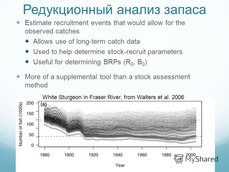 Редукционный анализ запаса Estimate recruitment events that would allow for the observed catches Allows use of long-term catch data Used to help determine stock-recruit parameters Useful for determining BRPs (R 0, B 0 ) More of a supplemental tool th