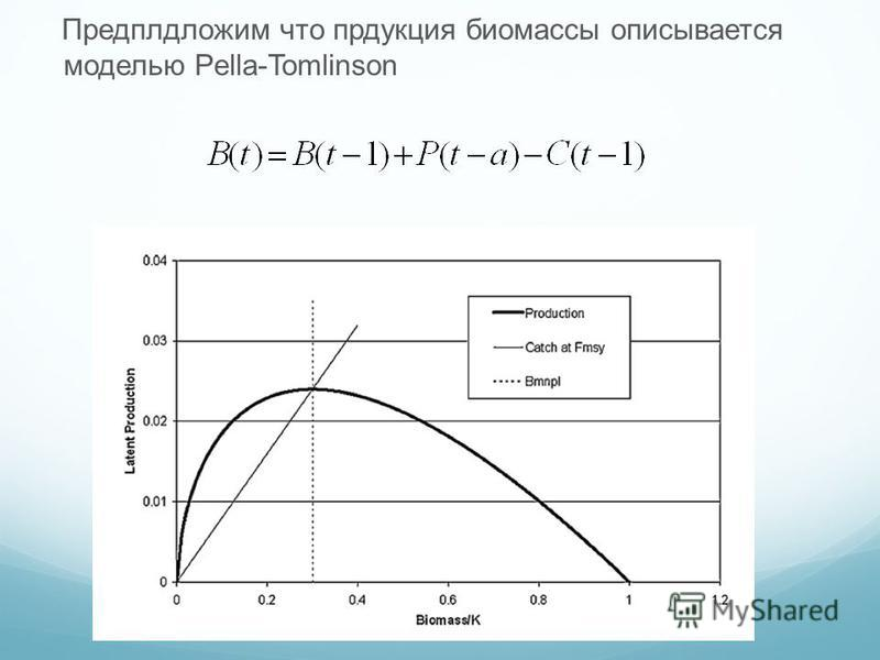 Предплдложим что продукция биомассы описывается моделью Pella-Tomlinson