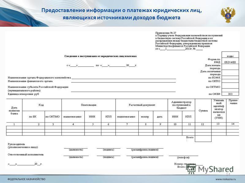 14 Предоставление информации о платежах юридических лиц, являющихся источниками доходов бюджета